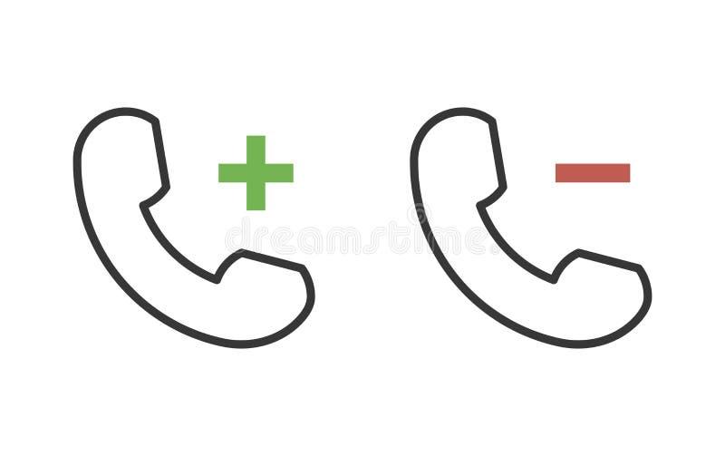 Il telefono ha collegato le funzioni con negativo ed i segni più per rimuovono, aggiungono, fanno diminuire, aumentano, ritirano  illustrazione vettoriale