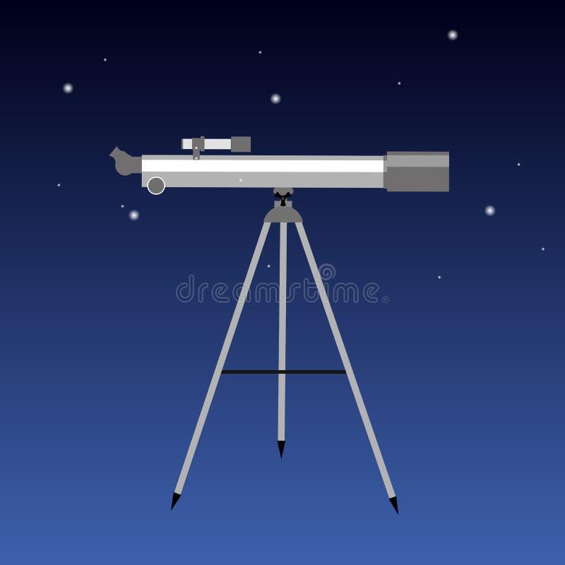 Il telescopio con cielo notturno intorno all'icona piana di progettazione ha isolato royalty illustrazione gratis