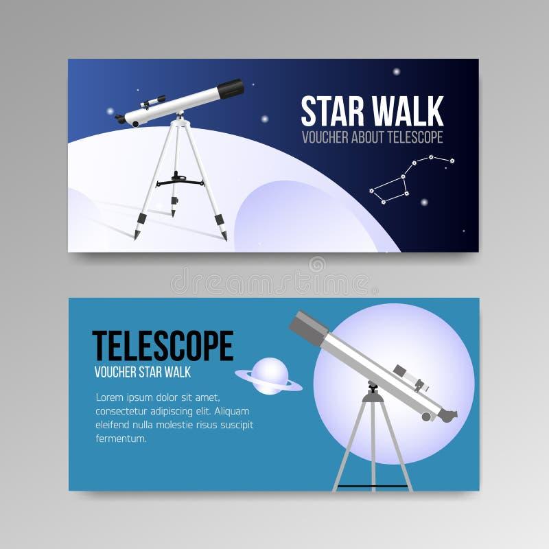 Il telescopio con i buoni del cielo notturno progetta l'icona isolata illustrazione vettoriale