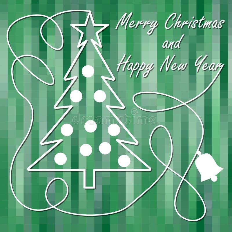 Il tema di Natale nella progettazione moderna, l'albero di Natale con la stella e le palle di natale nel profilo bianco su verde  illustrazione vettoriale