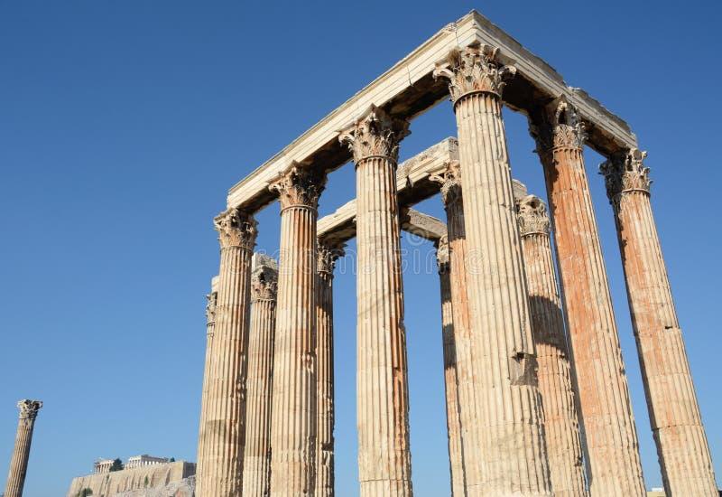 Il tempiale dello Zeus di olimpionico a Atene fotografia stock libera da diritti