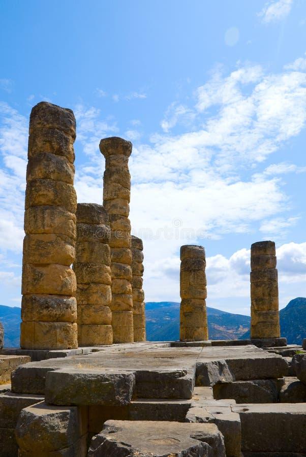 Il tempiale di Apollo a Delfi, Grecia immagini stock
