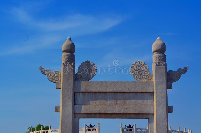 Il tempio del cielo, entrata all'altare circolare di Yuanqiu a Pechino, Cina è il complesso religioso in cui gli imperatori prega fotografia stock