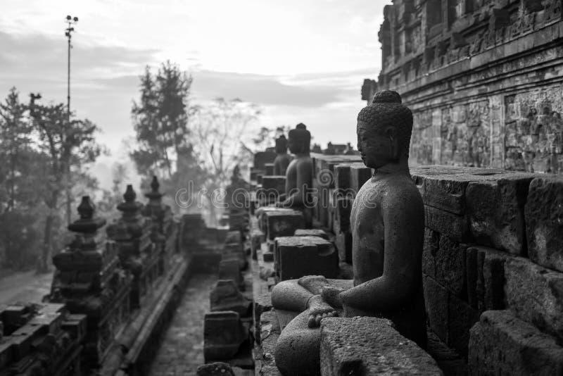 Il tempio di Borobudur ad alba immagini stock