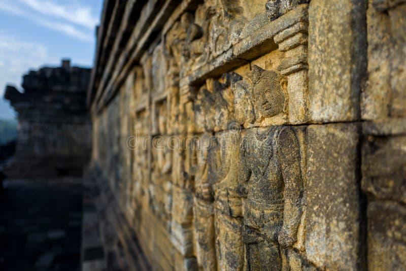 Il tempio di Borobudur ad alba immagine stock libera da diritti