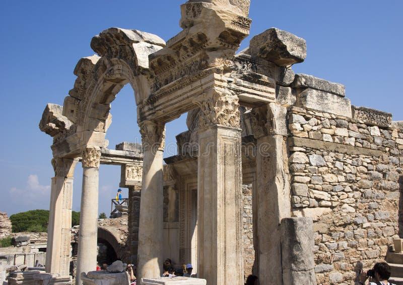 Il tempio di Hadrian sulla via di Curetes, Ephesus, Turchia fotografia stock libera da diritti
