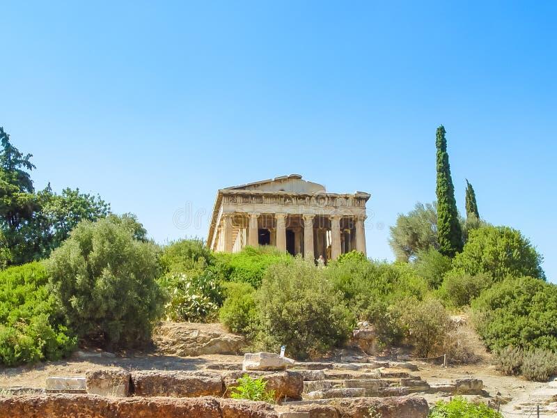 Il tempio di Hephaistos vicino all'acropoli a Atene fotografia stock libera da diritti