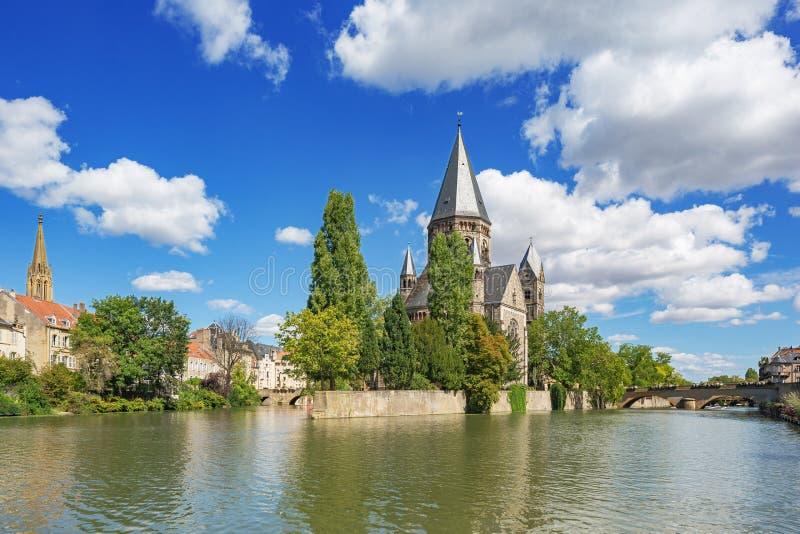 Il tempio Neuf, una chiesa riformata a Metz fotografia stock libera da diritti