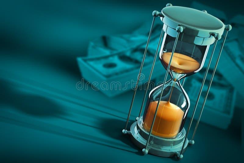 Il tempo è denaro concetto con l'orologio ed i dollari della sabbia illustrazione di stock