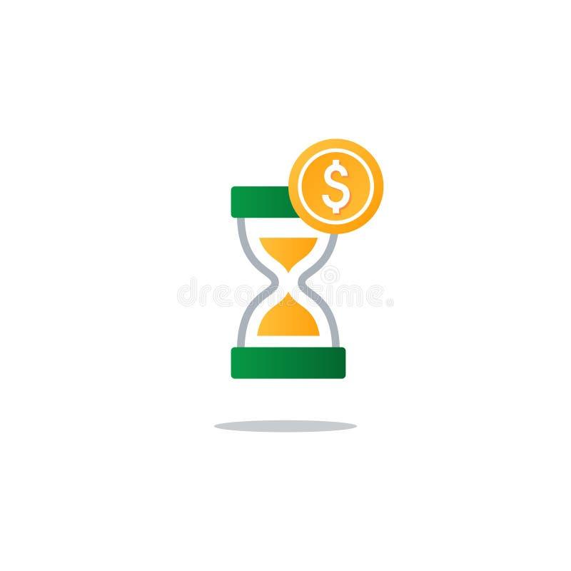 Il tempo è denaro, concetto di finanza, libretto di risparmio, assicurazione ed idea di pensione royalty illustrazione gratis