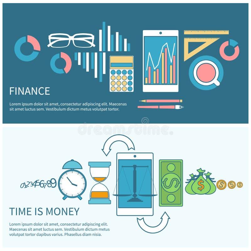 Il tempo è denaro e concetto di finanza illustrazione di stock