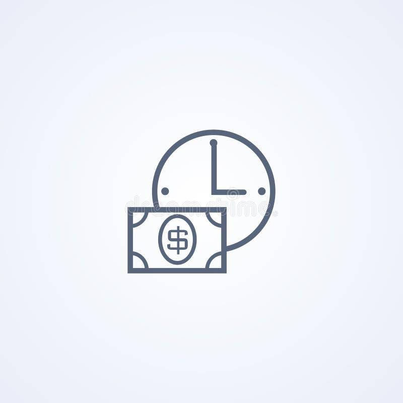 Il tempo è denaro, migliore linea grigia icona di vettore royalty illustrazione gratis