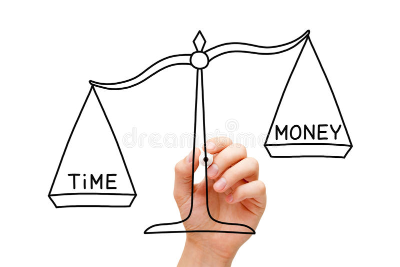 Il tempo è più importante dei soldi immagini stock