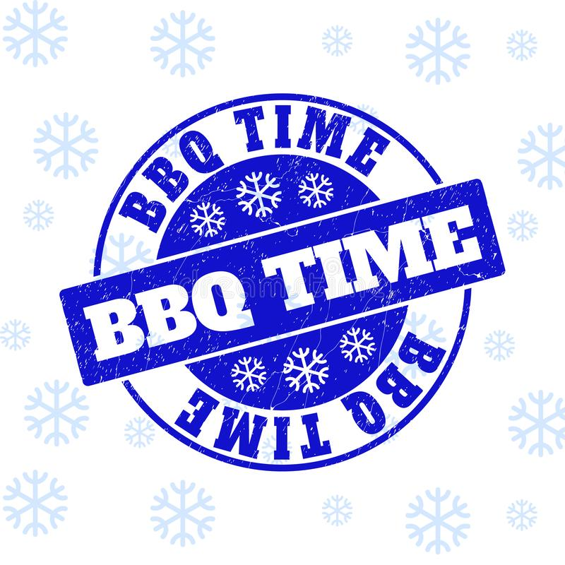 Il tempo del BBQ ha graffiato la guarnizione rotonda del bollo per il Natale illustrazione di stock