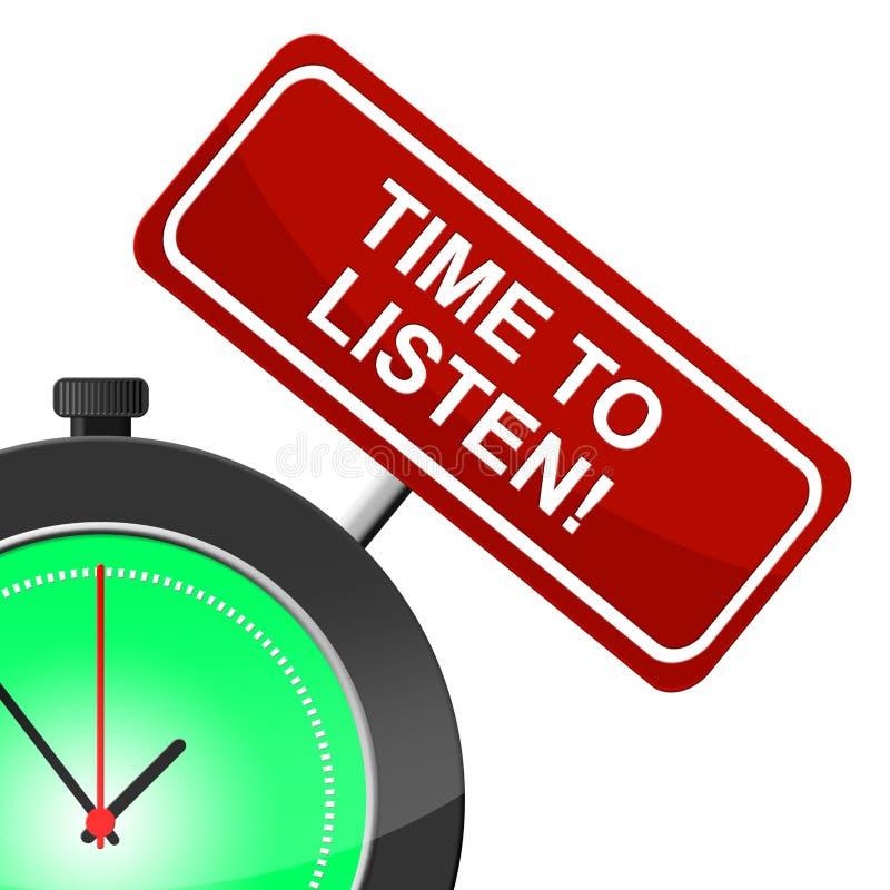 Il tempo di ascoltare indica al momento e sente illustrazione vettoriale