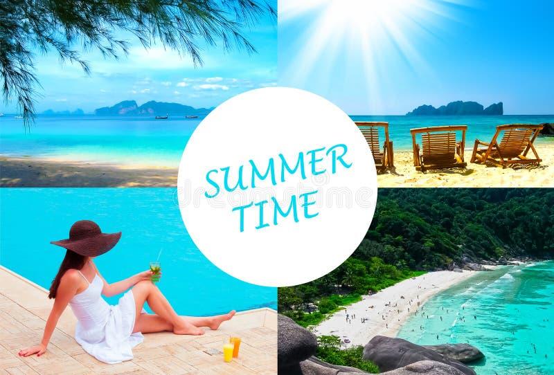 Il tempo di festa, estate, spiaggia, viaggio, vacanza, concetto del mare fotografia stock