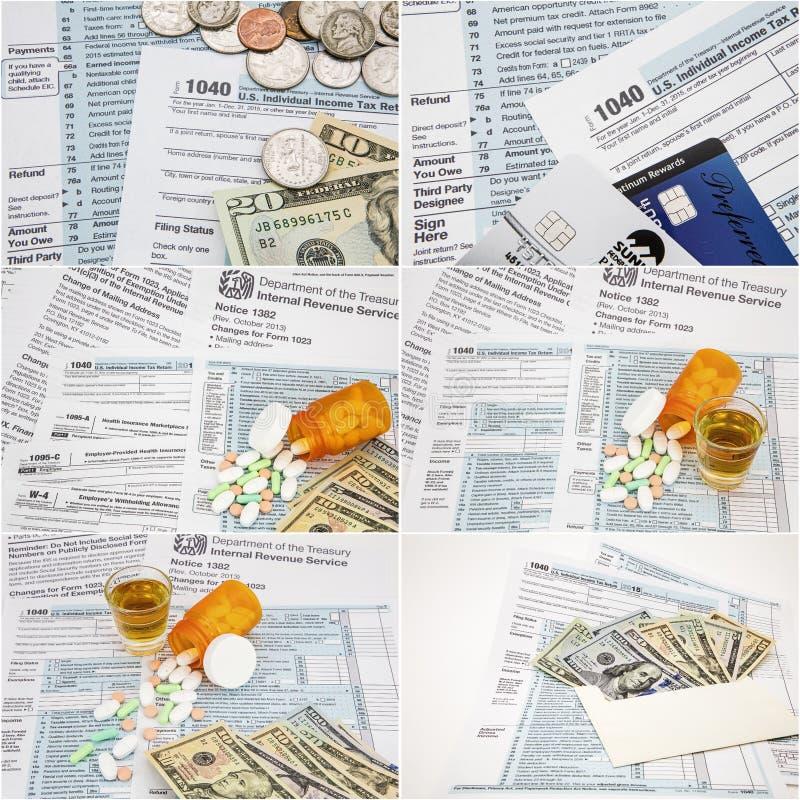 Il tempo di imposta sul reddito di IRS forma il collage dei soldi di 1040 droghe di stupefacente immagini stock libere da diritti
