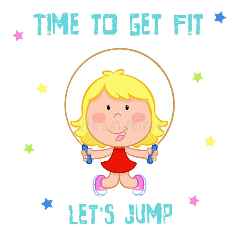 Il tempo di ottenere la misura - bambina adorabile e sport - rope il salto illustrazione di stock
