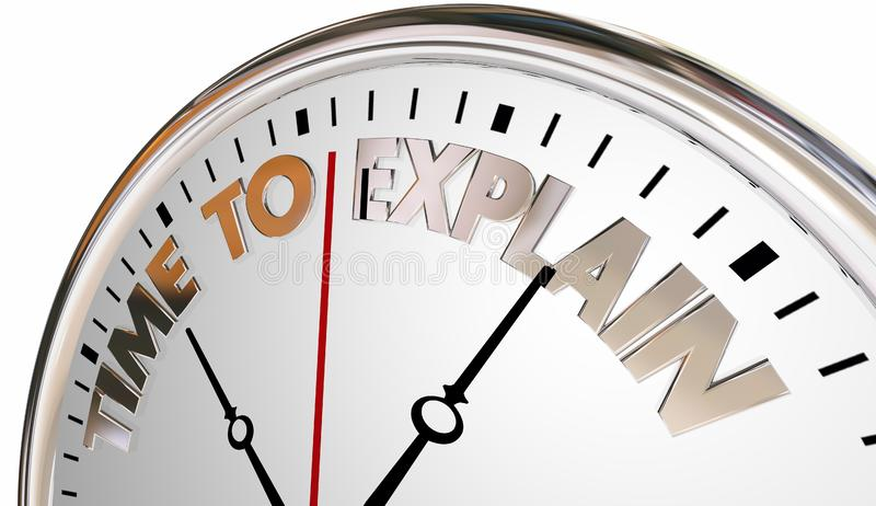 Il tempo di spiegare insegna all'orologio di comprensione di aumento di lezione illustrazione vettoriale