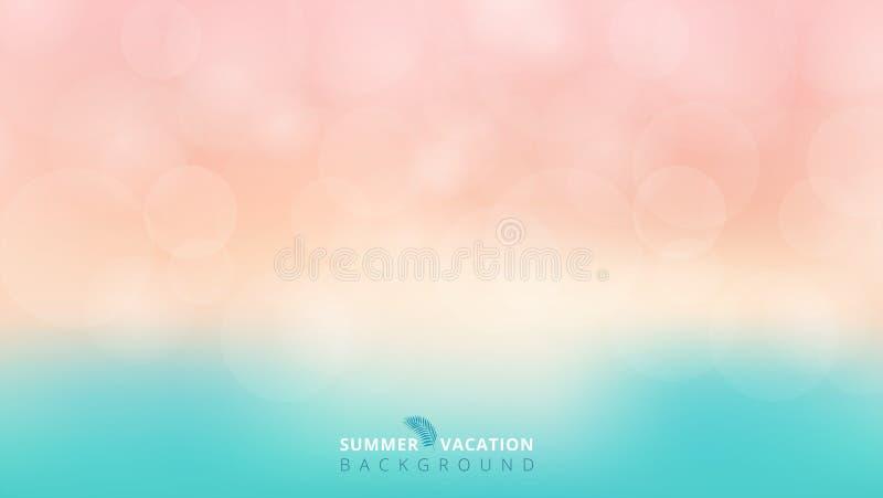 Il tempo di stagione estiva ha offuscato il fondo blu e rosa del bokeh illustrazione di stock