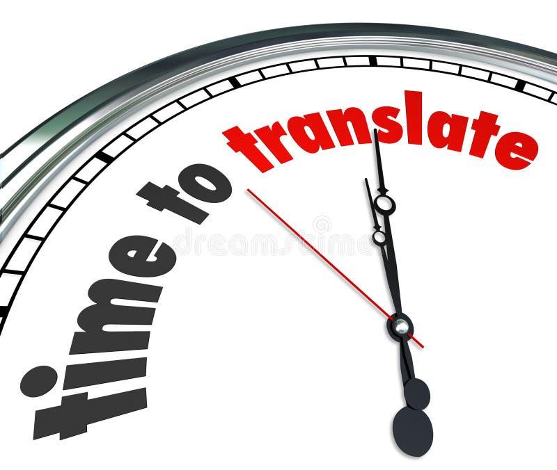 Il tempo di tradurre la lingua interpreta l'orologio capisce differente illustrazione di stock
