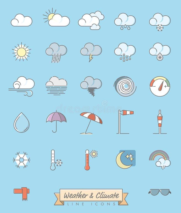 Il tempo e la meteorologia hanno riempito la linea icone messe illustrazione vettoriale