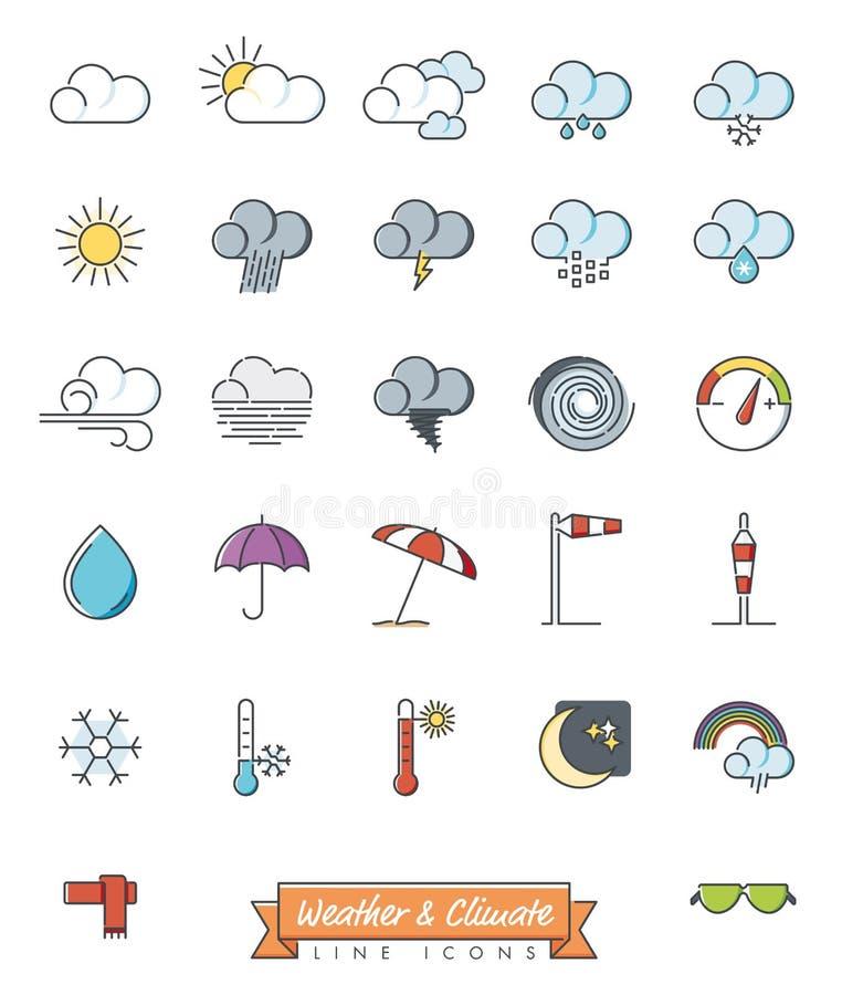 Il tempo e la meteorologia hanno riempito la linea icone di vettore illustrazione vettoriale