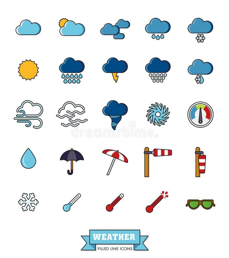 Il tempo ed il clima hanno riempito la linea icone messe royalty illustrazione gratis