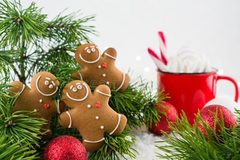 Il tempo felice di freddo fuori, gruppo di biscotti sorridenti degli uomini di pan di zenzero celebra il Natale ed il partito del immagini stock libere da diritti