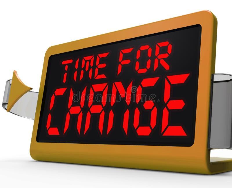 Il tempo per l'orologio del cambiamento mostra alla revisione la nuova strategia illustrazione di stock