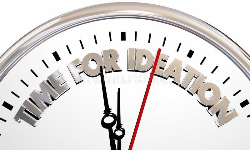 Il tempo per l'orologio di ideazione pensa le nuove idee illustrazione vettoriale