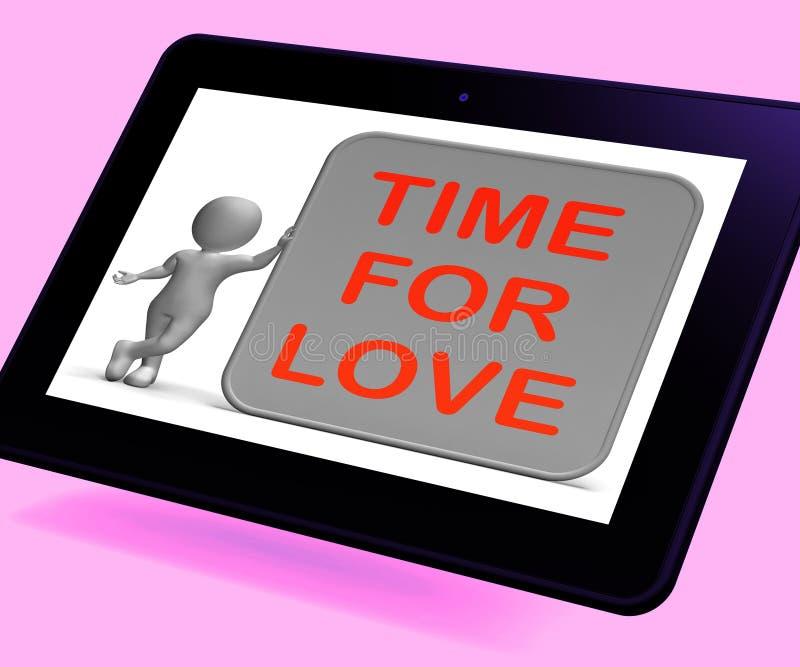Il tempo per la compressa di amore mostra l'apprezzamento e l'impegno romanzeschi illustrazione di stock