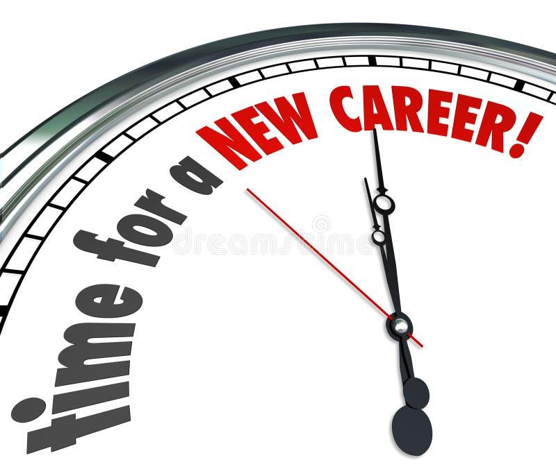 Il tempo per un nuovo lavoro di lavori del cambiamento dell'orologio di carriera segue i sogni illustrazione vettoriale