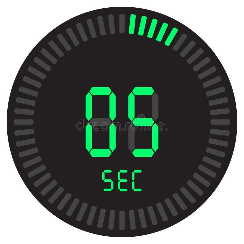 Il temporizzatore digitale 5 secondi cronometro elettronico con un quadrante di pendenza che avvia l'icona di vettore, orologio e illustrazione di stock