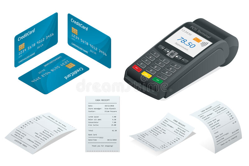 Il terminale isometrico di posizione, la carta di debito-credito, vendite ha stampato la ricevuta illustrazione di stock
