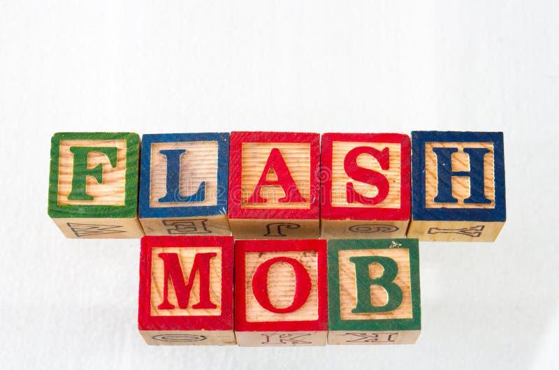 Il termine flash mob visualizzato visivamente immagini stock libere da diritti