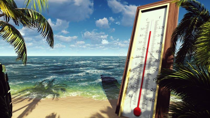 Il termometro Fahrenheit Celsius mostra la temperatura di aumento Il concetto di riscaldamento globale rappresentazione 3d illustrazione di stock