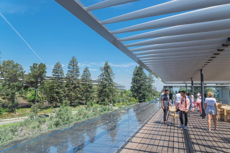 Il terrazzo del tetto caratterizza una vista unica del parco di Apple e del suo ro immagini stock libere da diritti