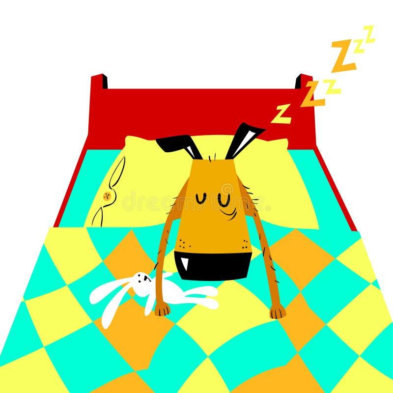 Il Terrier di lingua gallese digiuna addormentato Illustrazione del fumetto di vettore con il cane sveglio royalty illustrazione gratis