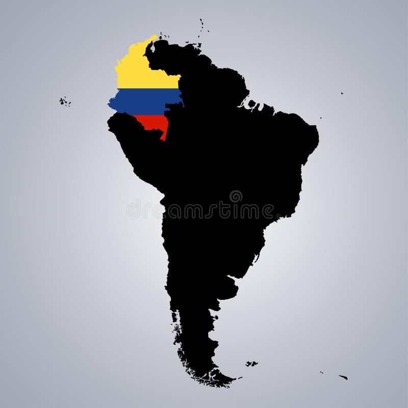 Il territorio e la bandiera della Colombia sul Sudamerica tracciano su fondo grigio illustrazione vettoriale