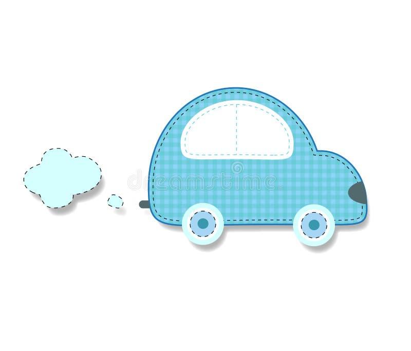 Il tessuto o la carta tagliato ha striato il retro autoadesivo blu dell'automobile illustrazione vettoriale
