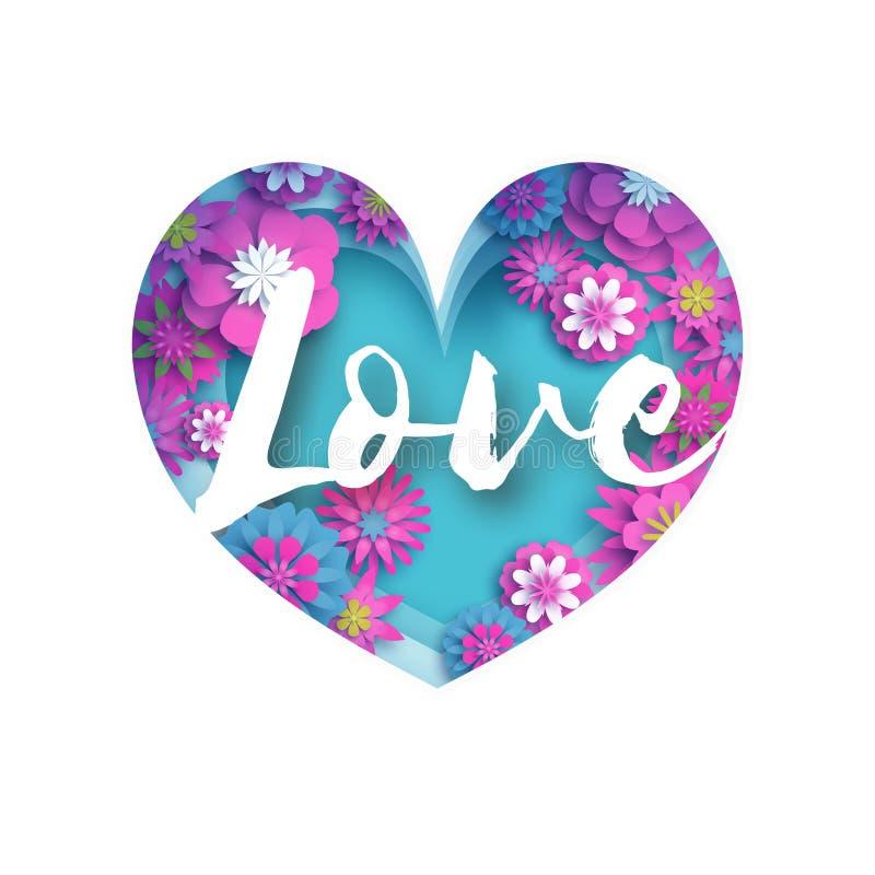 Il testo blu rosa di amore nel taglio della carta ha messo a strati il cuore Cartolina d'auguri felice di giorno di biglietti di  illustrazione di stock
