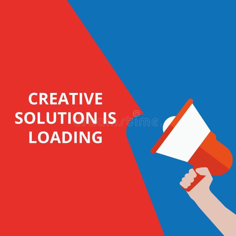 il testo che scrive la soluzione creativa sta caricando illustrazione vettoriale