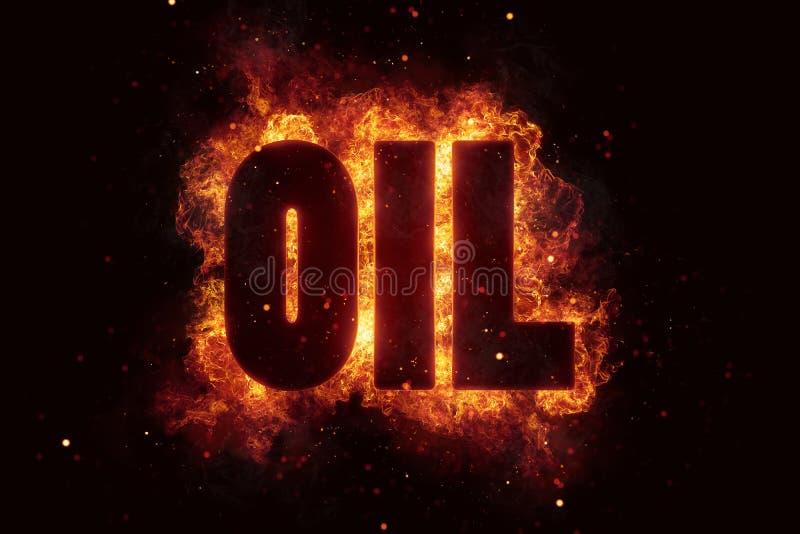 Il testo del gas di olio su fuoco fiammeggia la combustione di esplosione fotografie stock libere da diritti