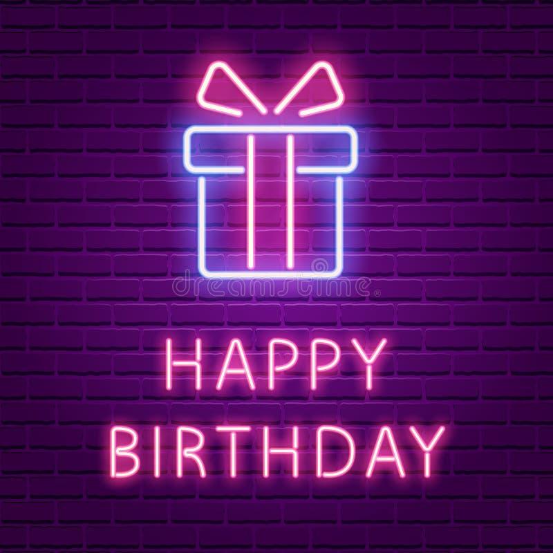 Il testo del neon di buon compleanno ed il contenitore di regalo d'ardore modellano royalty illustrazione gratis