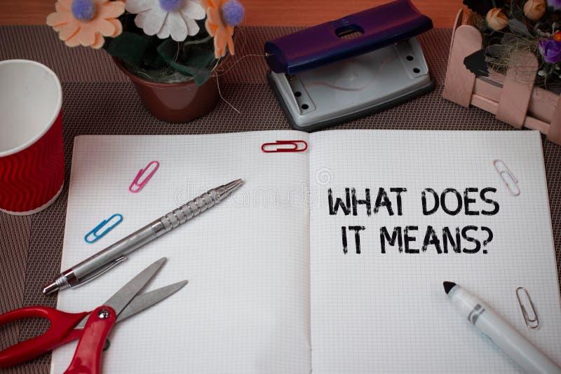 Il testo della scrittura che cosa lo fa significa la domanda Il significato di concetto che chiede a significato qualcosa ha dett fotografia stock