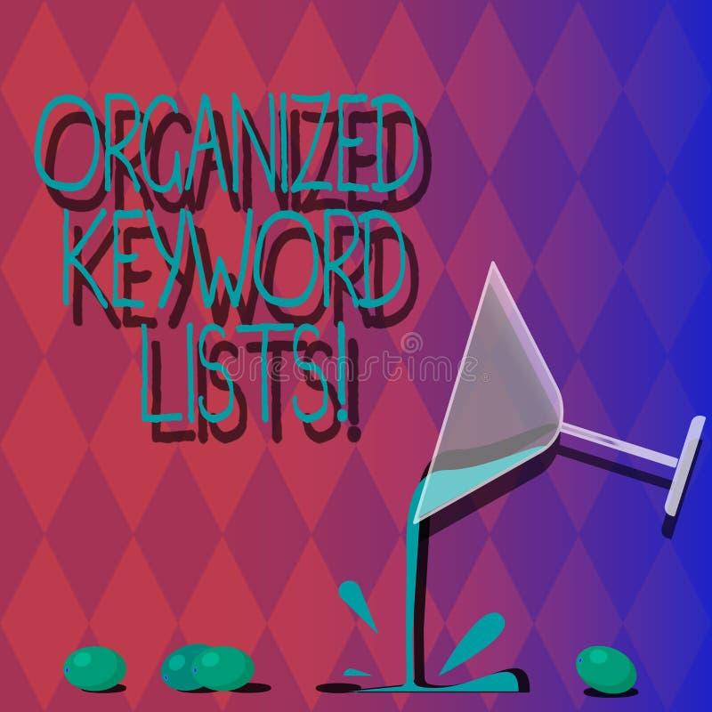Il testo della scrittura ha organizzato le liste di parola chiave Significato di concetto che prende lista delle parole chiavi e  royalty illustrazione gratis