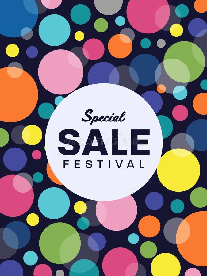 Il testo di festival di vendita speciale sul vettore variopinto bianco del fondo dell'insegna della bolla del cerchio e del cerch illustrazione vettoriale