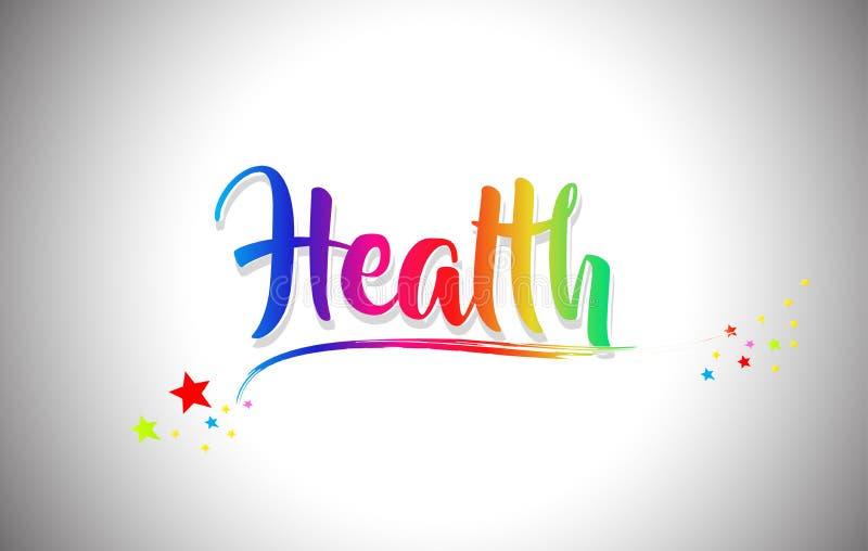 Il testo di parola di salute con i colori dell'arcobaleno e vibranti scritti a mano mormorano royalty illustrazione gratis