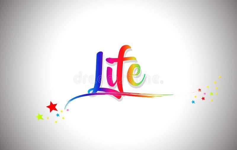 Il testo di parola di vita con i colori dell'arcobaleno e vibranti scritti a mano mormorano royalty illustrazione gratis